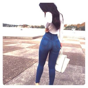 FN Classic High Waist Skinny Jeans (Medium Blue)